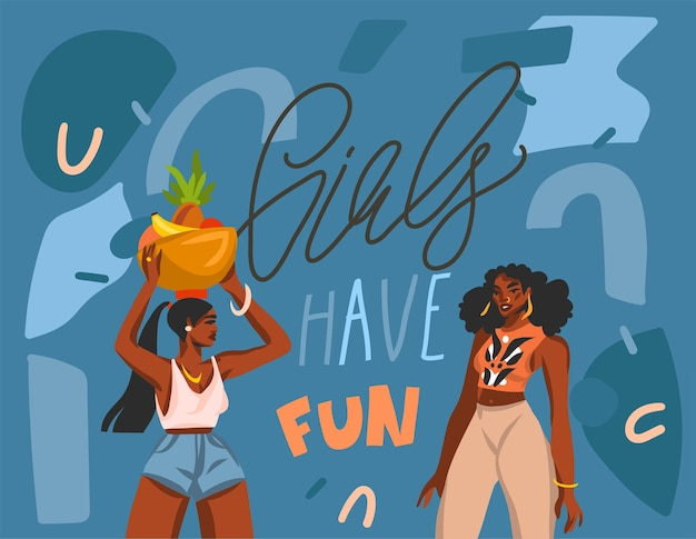 Hand drawn     illustration with young smiling positive african american females