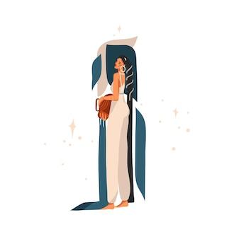 干支占星術サイン水瓶座と美しさの魔法の女性と手描きイラスト