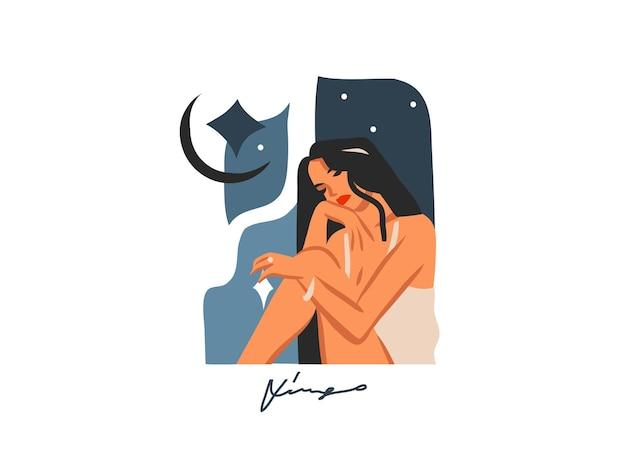 여자와 조디악 점성술 기호 처녀 자리와 손으로 그린 그림