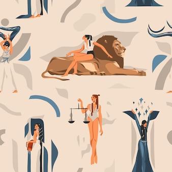 손으로 그린 그림 조디악 로그인 점성술 현대 완벽 한 패턴, 보헤미안 디자인.