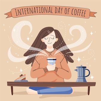 Hand drawn illustration of woman enjoying a cup of coffee