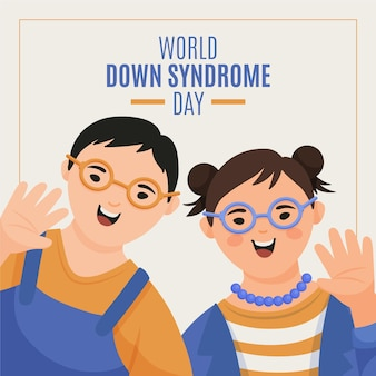 Hand drawn illustration world down syndrome day