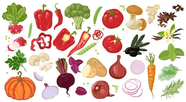 손으로 그린 그림과 흰색 배경에 고립 된 채식주의 및 채식주의 자 음식 물건의 아이콘.