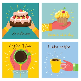 Hand-drawn illustrations of cakes, and baked desserts and coffee in the flat style