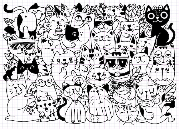 Hand drawn  illustrations of cats characters. sketch style. doodle  illustration