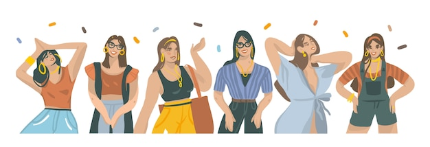Набор рисованной иллюстрации коллекции с молодыми улыбающимися женщинами в моде наряд на белом фоне