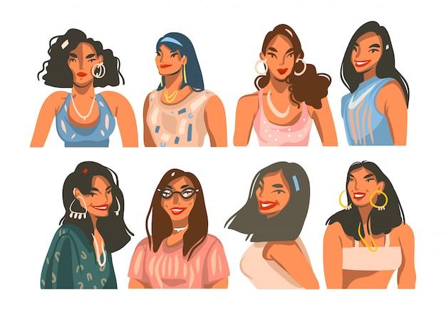 手描きイラストコレクションセット白い背景の上のイヤリングを持つ若い笑顔の美しい女性とバンドル