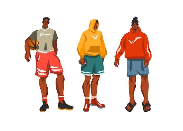 Набор рисованной иллюстраций с молодыми счастливыми парнями
