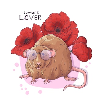 Hand drawn illustrations. cute realistic rat with flowers.
