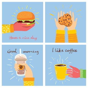 Hand-drawn illustrations of food and coffee in the flat style