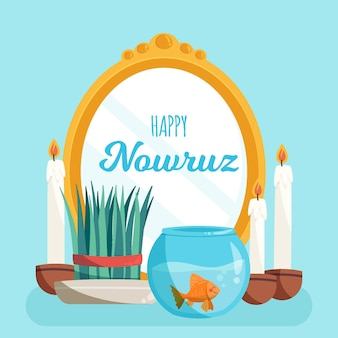 Hand drawn illustrations happy nowruz
