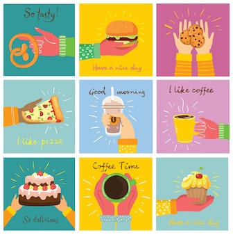 Рисованные иллюстрации тортов, десертов и кофе в плоском стиле