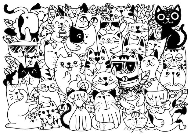 猫のキャラクターの手描きイラスト。スケッチスタイル。落書き、さまざまな種類の猫、子供向けのイラスト、塗り絵のイラスト、それぞれ別のレイヤーに。