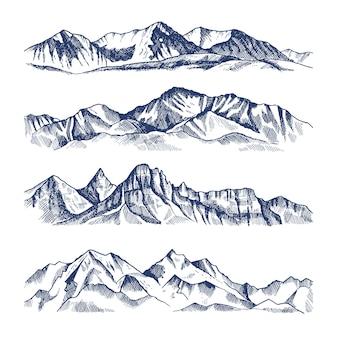 さまざまな山の風景の手描きイラスト。山の旅、岩の頂上、高地の範囲