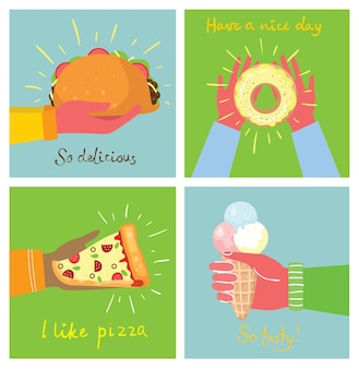 Рисованные иллюстрации рук, держащих пиццу, мороженое, десерт и тако в плоском стиле