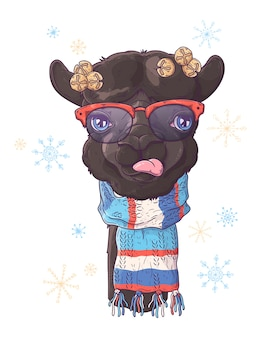 Hand drawn illustrations. portrait of cute alpaca in christmas accessories.