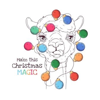Hand drawn illustrations. portrait of cute alpaca with christmas garland. line art.