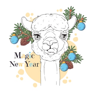 Hand drawn illustrations. portrait of cute alpaca.
