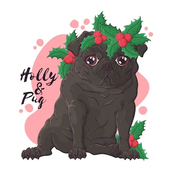Hand drawn illustrations. portrait of cute pug dog in christmas accessories.