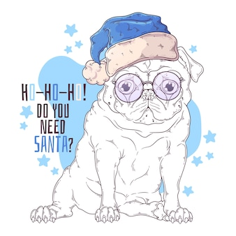 Hand drawn illustrations. portrait of cute pug dog in santa hat.