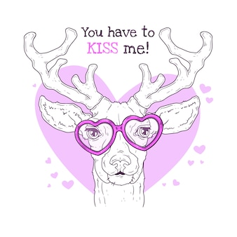 Hand drawn illustrations. portrait of cute realistic deer in glasses.