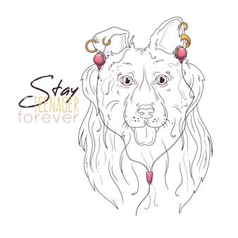 手描きイラスト。音楽を聴くかわいいコリー犬の肖像画