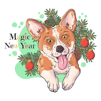手描きイラスト。クリスマスツリーとかわいいコーギー犬の肖像画。