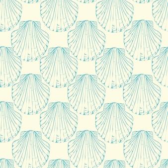 手描きイラスト-貝殻のシームレスなパターン。海洋の背景。