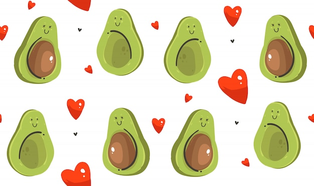 Hand drawn illustrations seamless pattern with avocado couple  isolated on white background