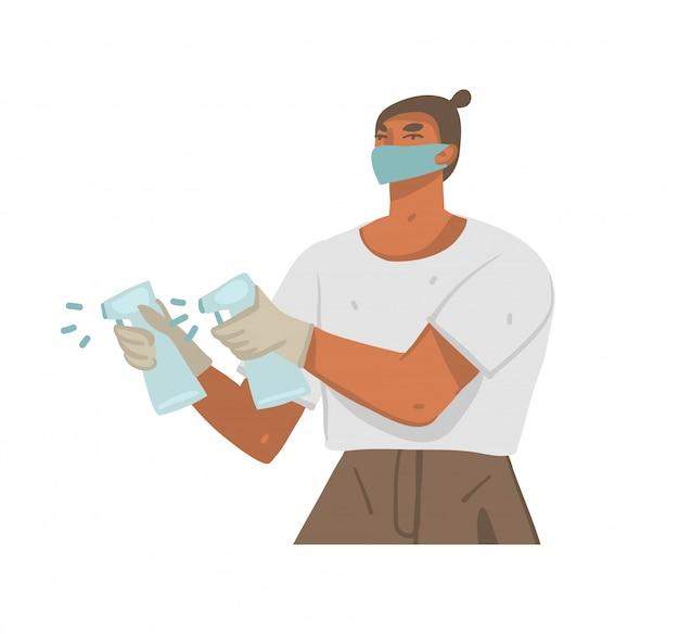 フェイスマスクの若い男性キャラクターの描き下ろしイラストを手し、白い背景で隔離の防腐剤ですべてを扱います