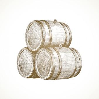 手描きの小話-木製の樽。
