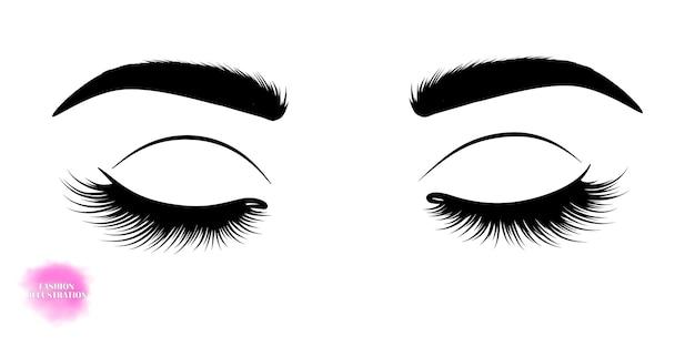 Нарисованное от руки изображение закрытых глаз