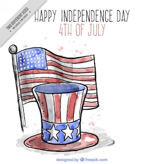 Hand drawn independence day background with flag and hat
