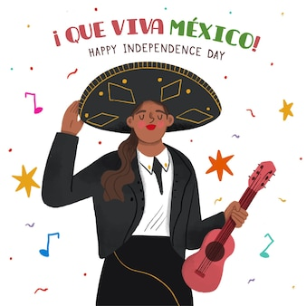 Hand drawn independence day of mexico