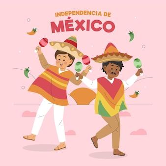 Нарисованная от руки независимость мексики с персонажами