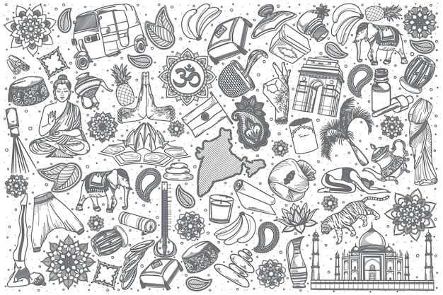 Hand drawn india doodle set