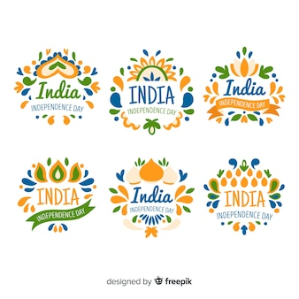Hand drawn india independence day badge collection
