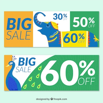 Hand drawn india independence day sale banners