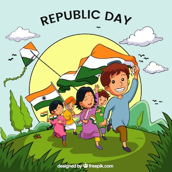 Hand drawn india republic day background
