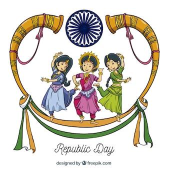 Hand drawn india republic day background