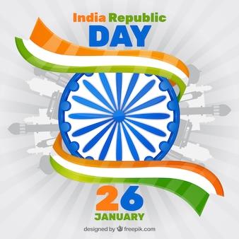 Fondo disegnato a mano di giorno della repubblica dell'india