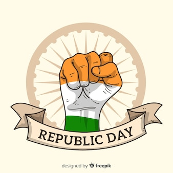 Hand drawn indian republic day background