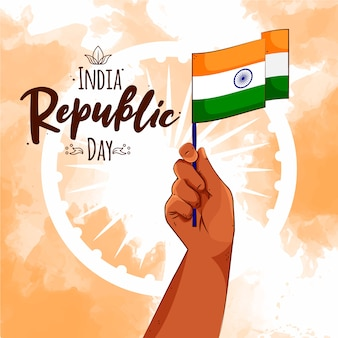 Hand drawn indian republic day concept