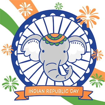 Hand drawn indian republic day with elephant