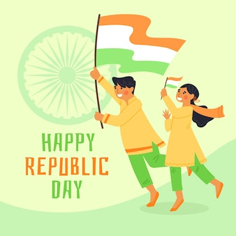 Hand drawn indian republic day with flags