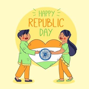 Giorno disegnato a mano della repubblica indiana con la bandiera del cuore