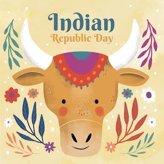 Giorno della repubblica indiana disegnata a mano