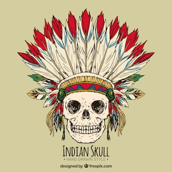 Hand drawn indian skull background