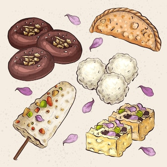 Hand drawn indian sweet collection