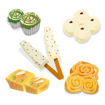 Hand drawn indian sweets pack